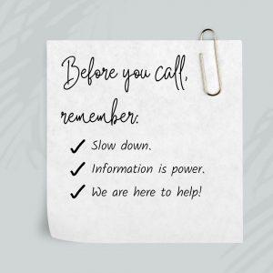 Tips when placing a service call.